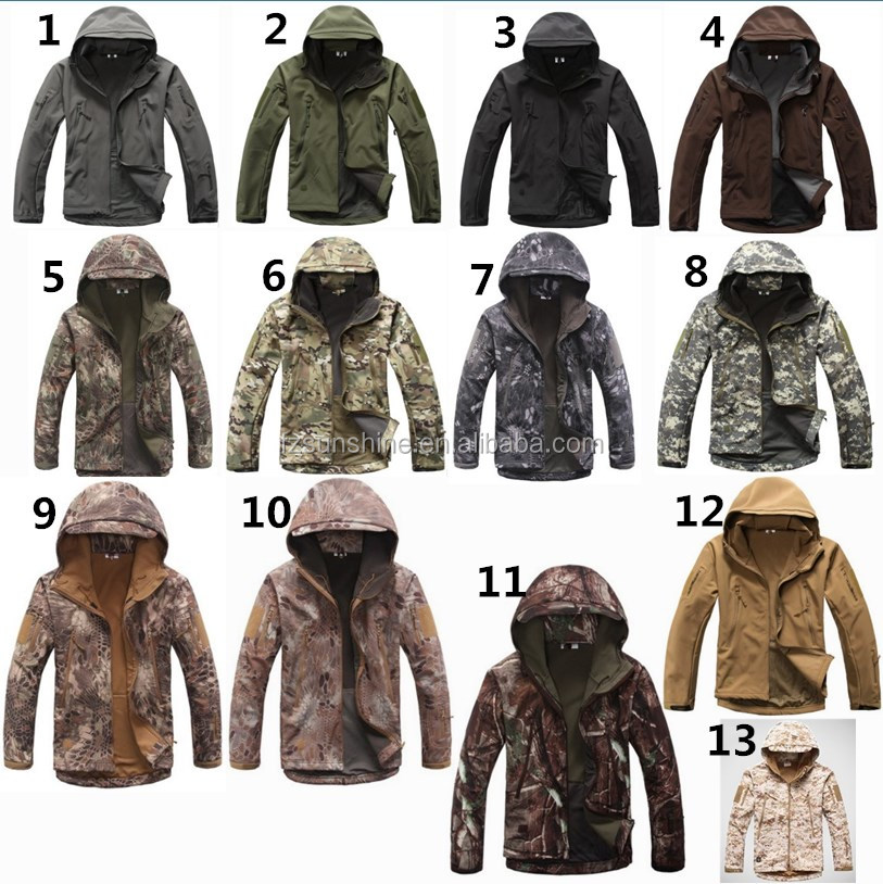 13 COLORS Wholesale Tactical Woodland Active Military Softshell Jacket