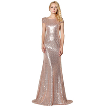 Sexy Backless Rose Gold Sequined Evening Dresses 2017 New Arrival Mermaid Long Cheap Party Gown