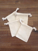 "Mini Drawstring Pouches 100% Cotton Muslin 4"" x 6"", Washbags for soap nuts"