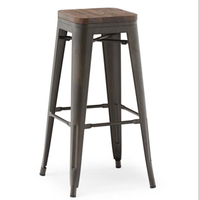 USA industrial wooden seat metal cafe high stackable bar stool