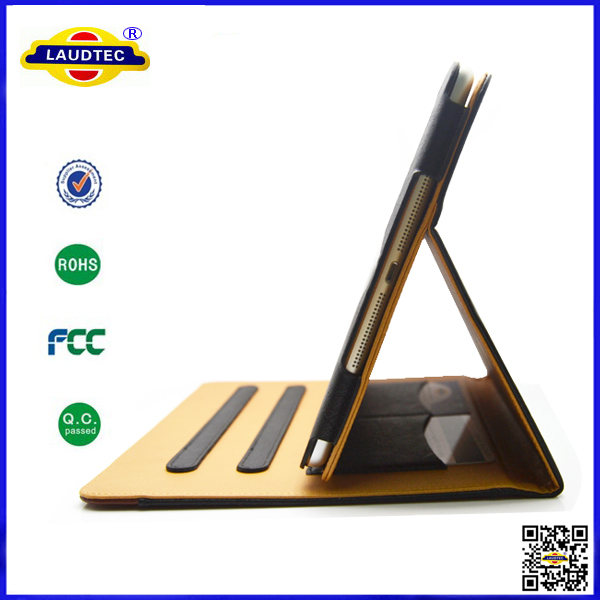 Tan Stand Wallet Leather Unbreakable Protective Case For iPad Air --Laudtec