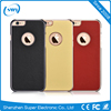 Luxury Italy Genuine Leather Cover Case Slim Electroplating Back Cover for iPhone 6/6s Plus