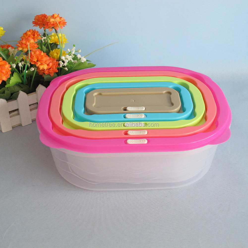 5 pcs rectangle plastic food storage box with colored lid