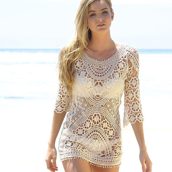 Low Back Lace Crochet Swimsuit Cover Up