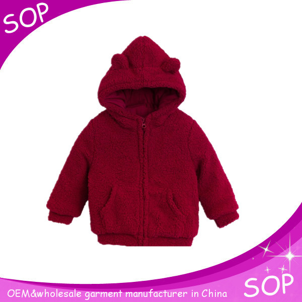 Zip up ear hoodies for baby in red made in china