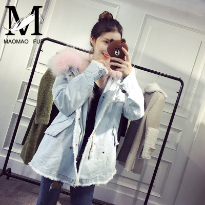 Custom High Fashion Lady Autumn and Winter Cheap Genuine Raccoon Fur Lining Women Jean Coat