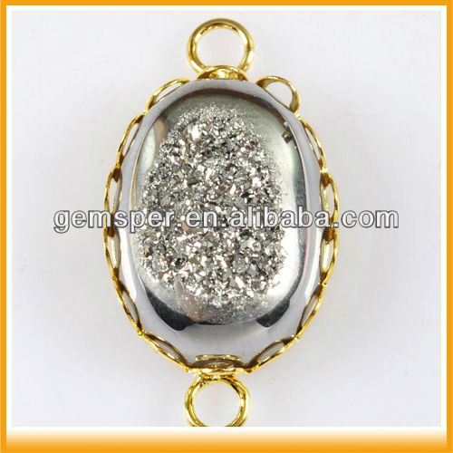 Natural Grade A Agate Bezel Setting Druzy Geode Gemstone Connector Wholesale D040409