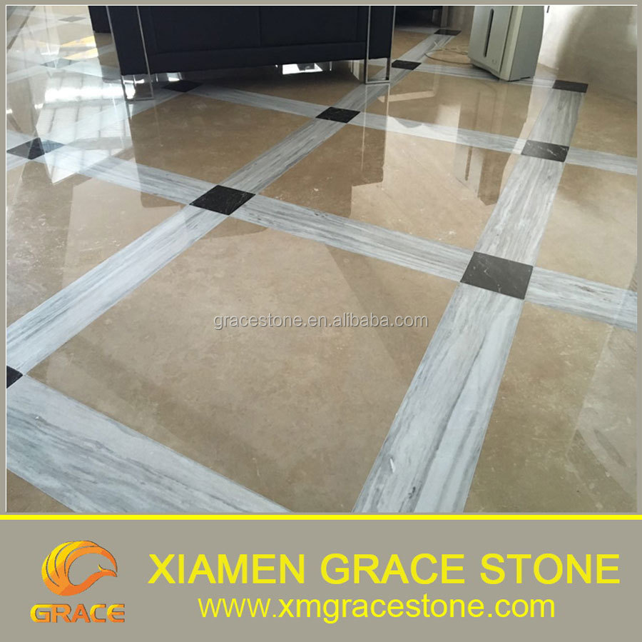 Polished beige Travertine Marble slab floor wall tiles
