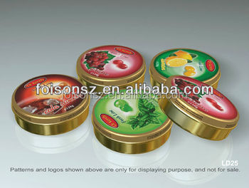 round tin box for candy cookie tin can