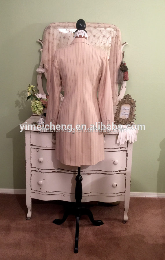 Pink long sleeve V neck three bottons customized china women business suits