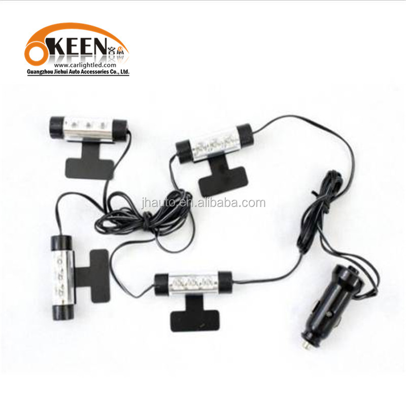 High quality led auto 4x3 smd car bule atmosphere light for all car 3 led ambiient lamp