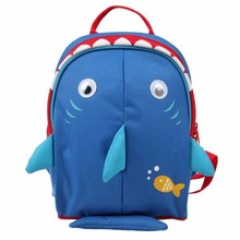 Pre shool Toddler Backpack, Insulated Lining, with Safety Harness, Navy Shark Cartoon School Bag