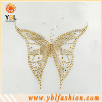Gold butterfly rhinestone designs, hotfix fabric, bags, shoes