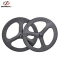 700C Road Bike 3 spoke bicycle wheel Full Carbon Wheels 66mm Carbon Fiber Tri Spoke Wheelset