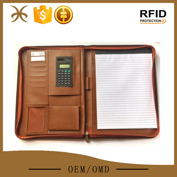 Brown business organizer leather portfolio case