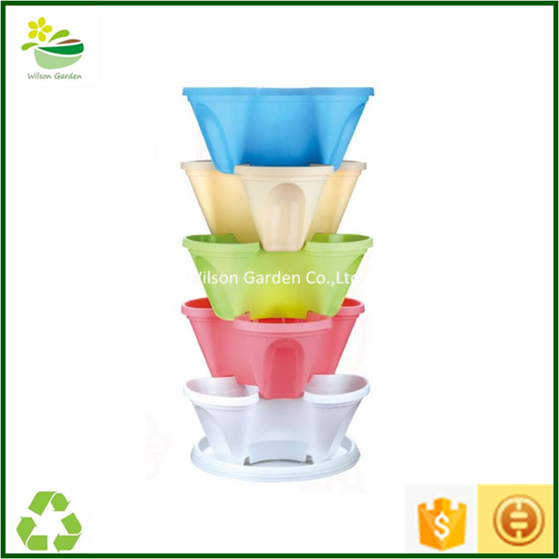 Cheap large flower pots plastic stackable planter