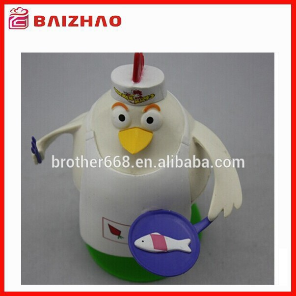 Hot sell plastic 3d cartoon cock chef figure toy / small plastic toy figures / gift mini plastic toy figure
