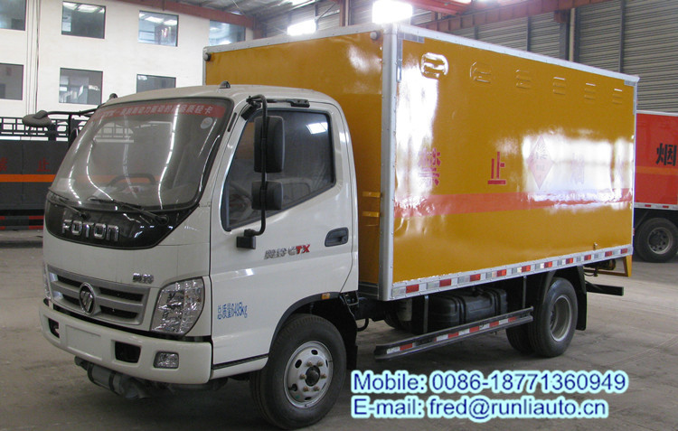 Factory supplied Foton Aoling 4*2 3 ton 15cbm low price of explosives delivery van truck for sale