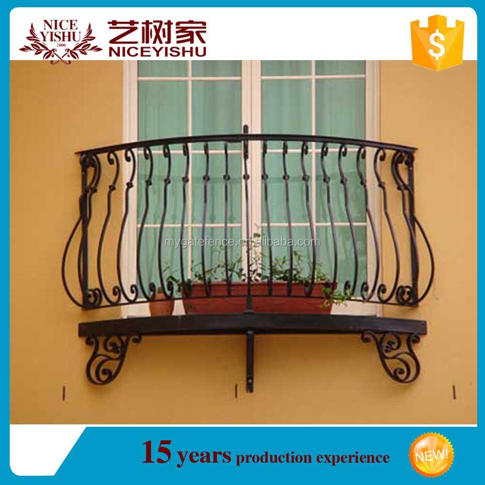 Yishujia factory wrought iron balcony railing exporter for Simple balcony grill design