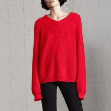 2017 Autumn New Product Puffy Mohair Geometric Shape V Collar Sweater For Women