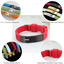 top quality stainless steel clasp magnetic silicon bracelet for men silicone energy bracelet rubber bracelet for sport