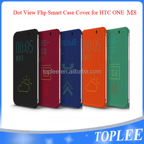 Dot View Smart Multi-Function Retro Flip Case Cover For HTC One M8