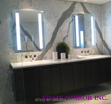 Humidity-resistant silver mirror made sandblasting bathroom mirror for wall shelf led illuminated
