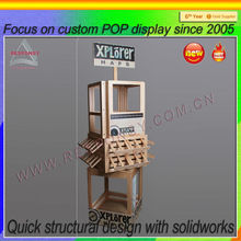 pos pop custom store fashion floor wood rotating map display stand