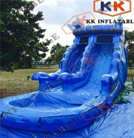 Commercial Grade Inflatable Water Slide Curved Water and Dry Slide