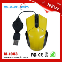 Retractable optical wired mouse computer accessories