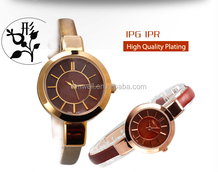 Popular design ladies brown dial watch with golden band