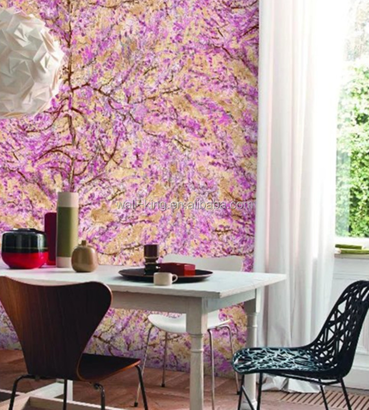 big tree pattern wallpaper/you can choose spring green or autumn orange or another