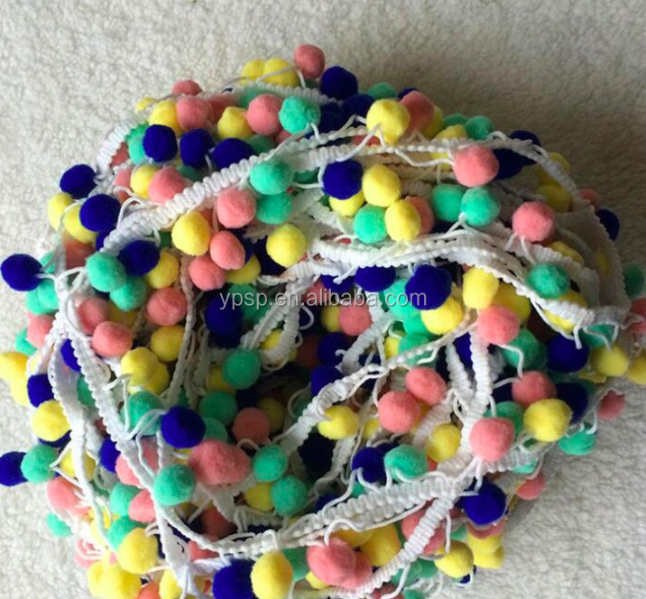 Cotton Tassel Lace Trimming Lovely colorful Pom Pom Lace Trim For Garment Or Bag Accessory
