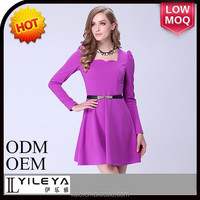 Purple formal office dresses with waistband, fashionable work dress for ladies