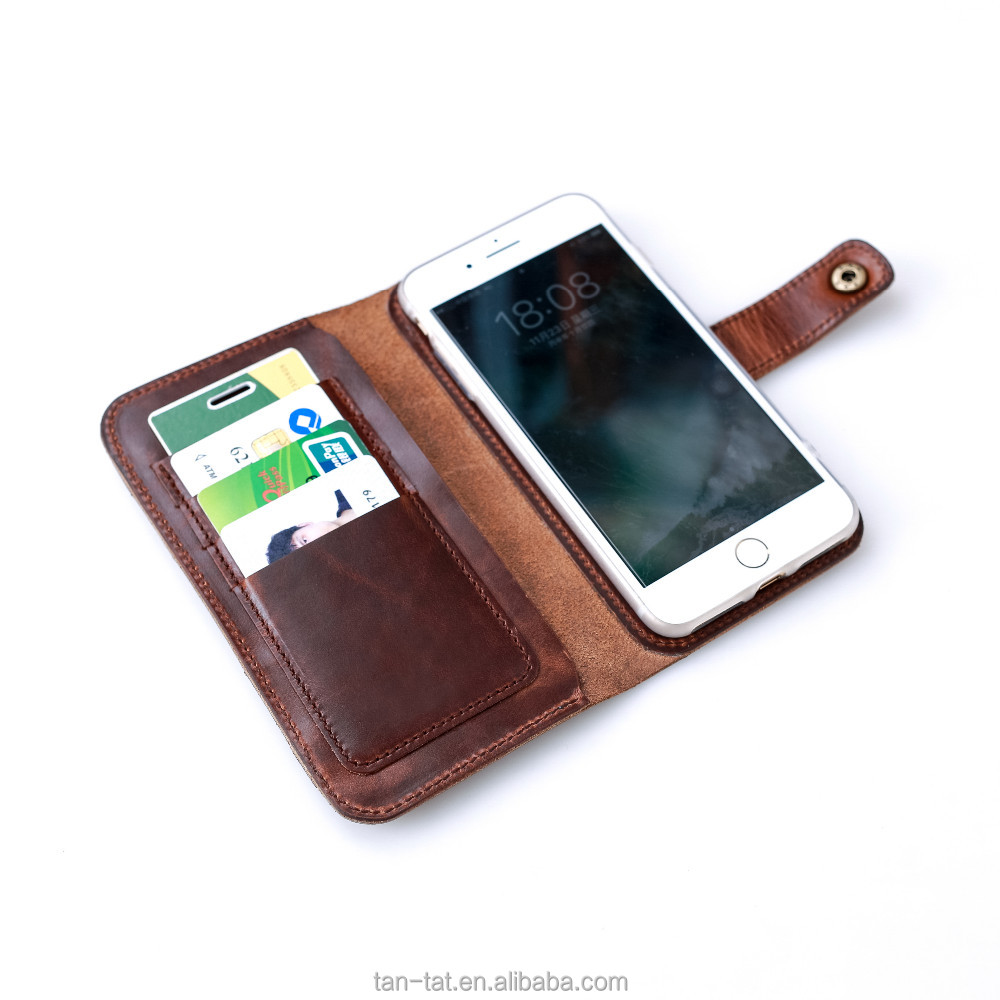 Luxury Real Leather Flip Phone Wallet Case Cover