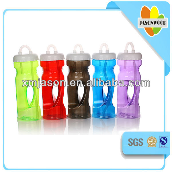 S shaped space PVC plastic drinking bottle with cap,staw