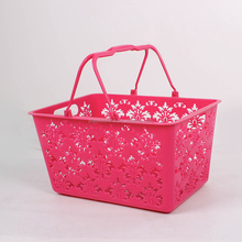 Perforated cheap small rectangular plastic basket with handle