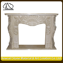 Indian Handcarved Polished Beige Marble Fireplace For House