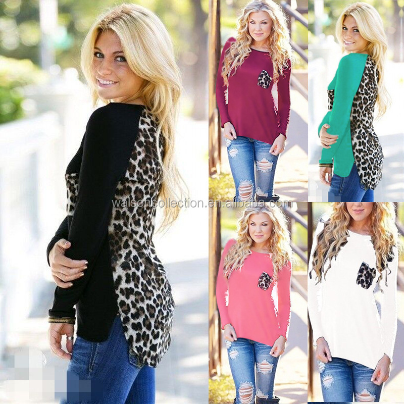 2015 s-xxxxxl Fashion Women Leopard Spice Long Sleeve Loose Casual Tee T-Shirt Tops Blouse