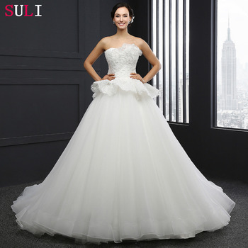 SL-039 Charming A-Line Sweetheart Tulle Lace Appliques 2016 Wedding Dress