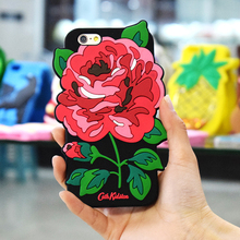 Manufacture 3D Red Flower Shock Absorption Soft Liquid Silicone Rubber Protective Rugged Cell Phone Case Cover For Iphone