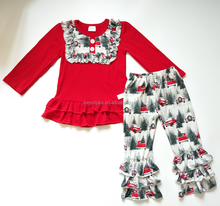 Christmas Fall Giggle Moon Remake Outfits Girls Long Sleeve Tops ruffle pant Childrens Boutique Clothing sets