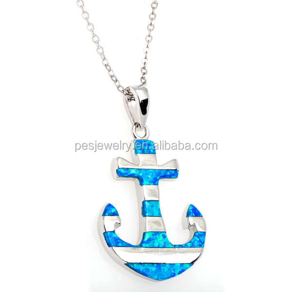 "PES Fashion Jewelry! Created Blue Fire Opal Striped Anchor Pendant With 18"" Chain Necklace (PES3-1152)"