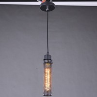 Viintage style cladding black metal hollow - out net pendant lighting withe Tube bulb