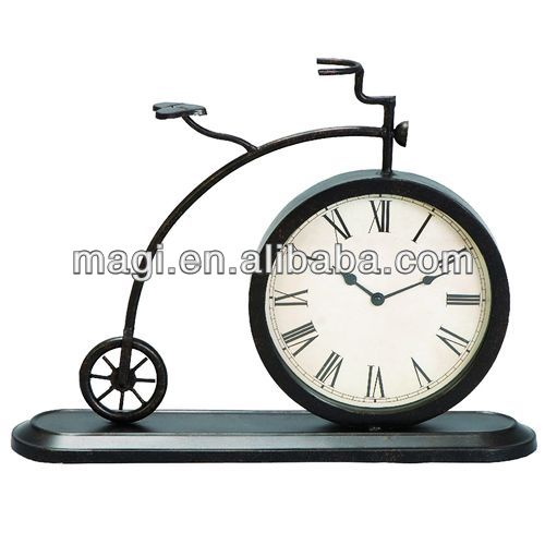 Hot Sale Antique Unique Bicycle Metal Table Clock