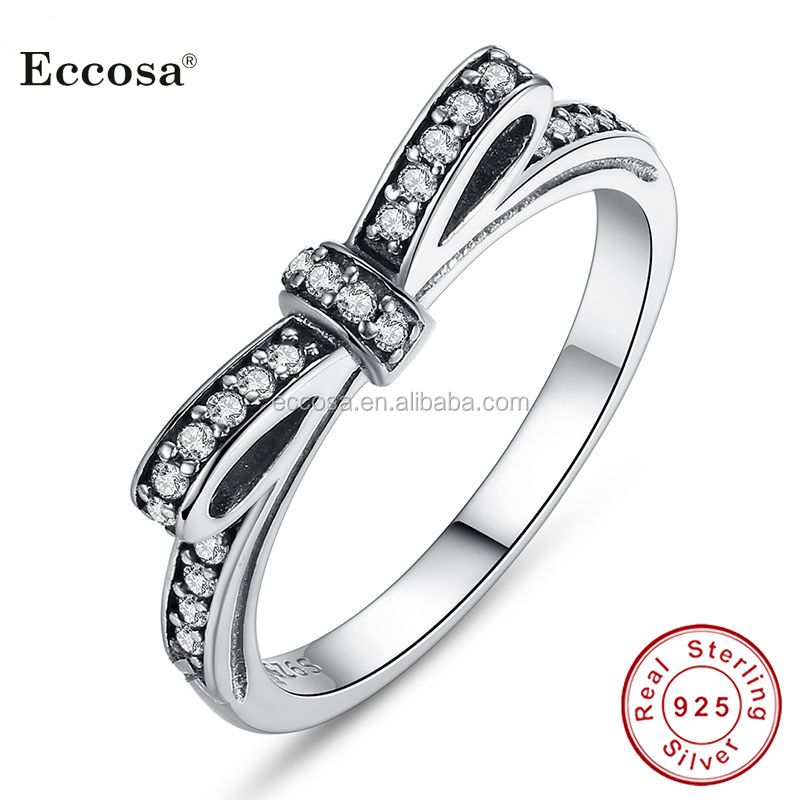 Authentic 925 Sterling Silver Sparkling Bow Knot Women Rings Jewelry Micro Pave CZ Wedding