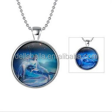 Cancer blue luminous necklace pendant