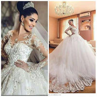 robe de mariage 2016 Pearls Beaded Long Sleeve Lace Ball Gown Wedding Dresses CWFw2235