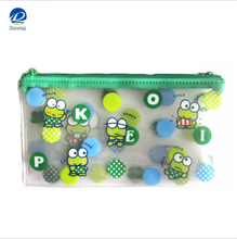 Factory Supply PVC Zipper Slide Pouch, PVC Zip lock flat document bag