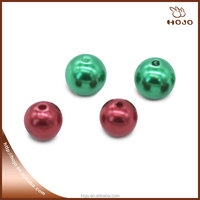 Fashion 15mm Plastic Pearls for Jewelry Red and Green bead with Hole